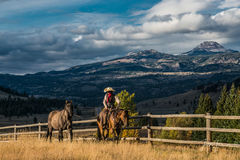 Cowgirl leading horse in evening light