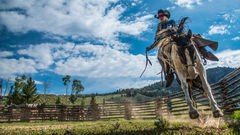 photo of cowboy on bucking horse, Wyoming photo, Jackson Hole, western, Large format, cowgirl, ranch, museum, fine art, print, jess lee, artist, photographer, limited edition, high quality, high resol