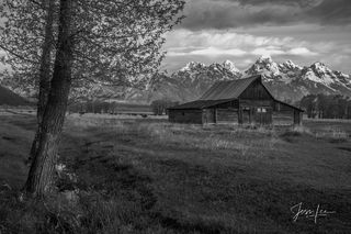 photo, photography, grand teton, mountains, Wyoming, barn, black and white,  western, fine art, print, jess lee, artist, photographer, limited edition, high quality,