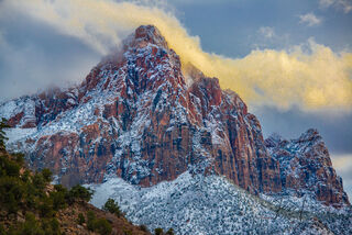 Zion Watchman in Snow in the the American Southwest