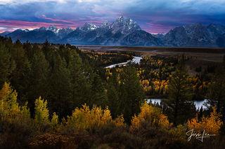 Snake River Overlook Autumn Sunset, mountain photography, Grand Teton, Tetons, autumn, color, fall, snake river, Wyoming, fine art,  jess lee, Mountain, Photo, Collectable,
