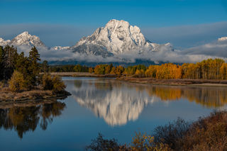 grand teton, mount, moran, autumn, snow, beautifully,