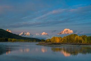 teton, reflection, snow, autumn, fall;, river,