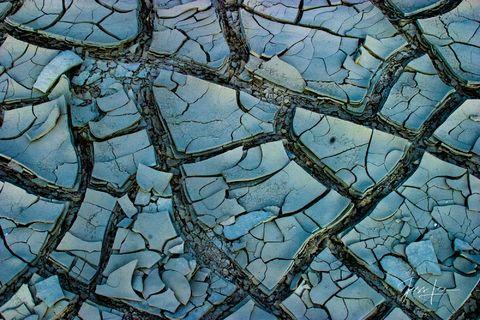 Mud cracks in California's desert basin.