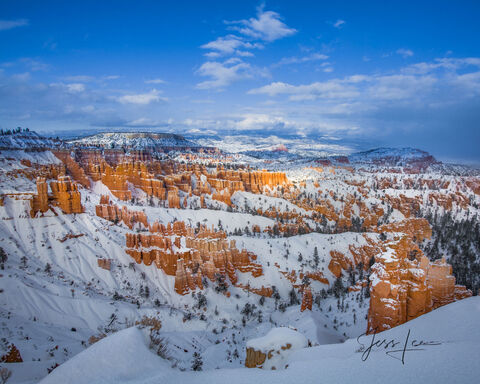 A thick blanket of snow covering Bryce Canyon in Utah.