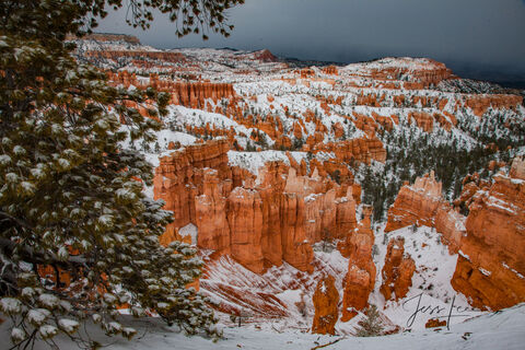 Fresh sheet of snow covering Bryce Canyon in Utah