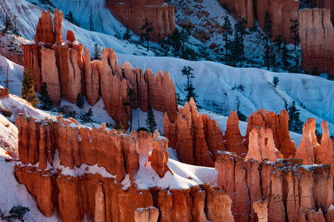 Jagged teeth-like rock formations in Bryce Canyon National Park, Utah.
