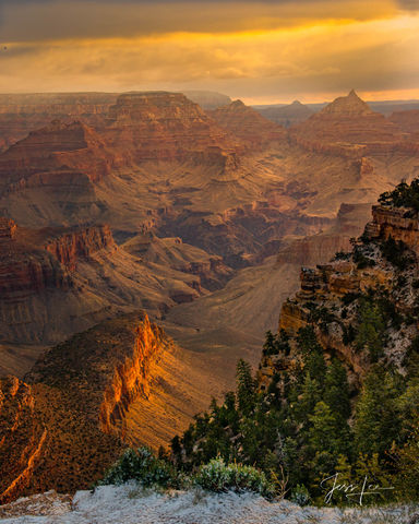 The Grand Canyon during a summer sunset.