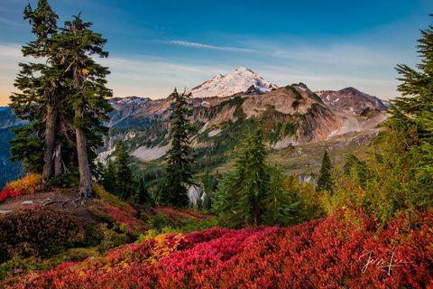 photo of Mt Baker, North Cascades photography, mountain range, autumn trees, snow, fall, color, landscape print, fine art,  Washington, National Park, PNW, Pacific Northwest