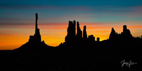 Sunrise set against Totem Rocks in Arizona