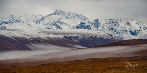 Panorama of Brooks Mountain Range in Alaska during winter