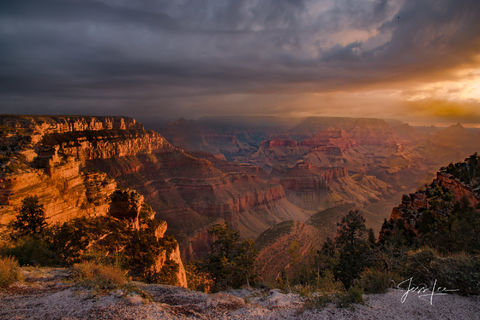Golden hour settling in on Cape Royal, Grand Canyon, Arizona.