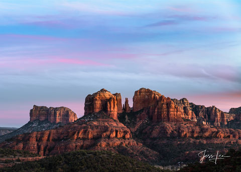 Golden hour on the Cathedral rocks in Red Rocks Country , Arizona.