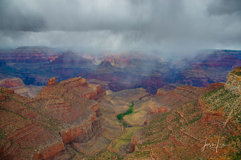 Rain storm rolling in over the Grand Canyon in Arizona.