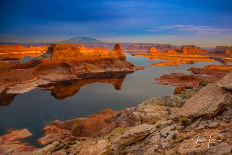 Sunset over Lake Powell in Arizona.