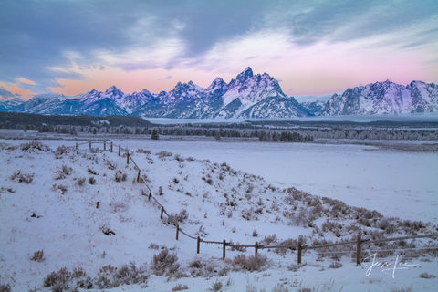 photo of Grand Teton mountains in Wyoming, sunrise, morning, landscape photography, beautiful sky, wildlife, snow, trees, forest, evergreens, winter, Jackson Hole, fine art, print, jess lee, artist, p