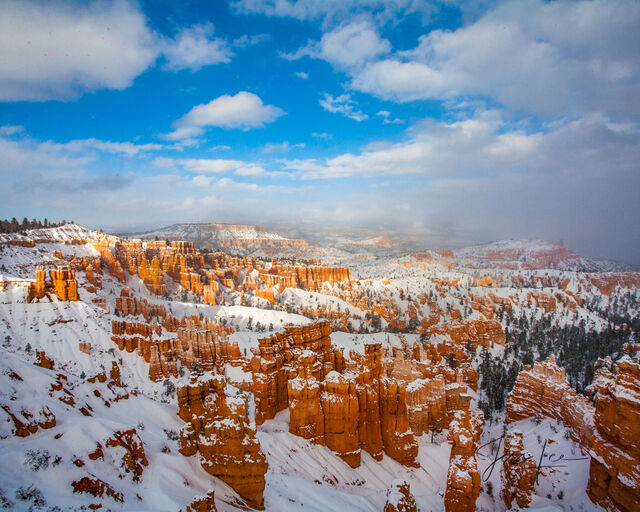 Red Rocks Courtyard in Bryce Canyon illuminated by a blanket of fresh snow.