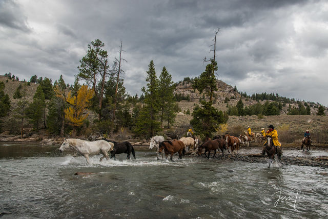 Cowboys pushing the horse herd before the storm