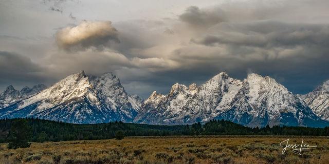 Grand Teton Storm Light, Large format, quality, museum, fine art, print, jess lee, artist, western, cowboy, photographer, limited edition, high quality, high resolution, beautiful, artistic, landscape