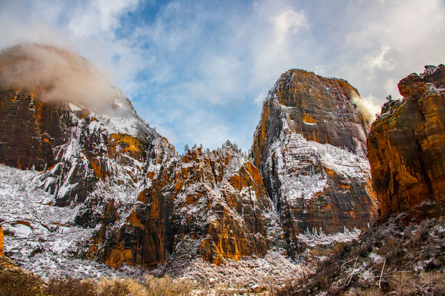 Zion Towers with snow