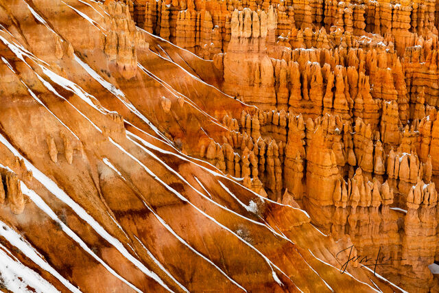 Stripes of snow in Bryce Canyon National Park, Utah.