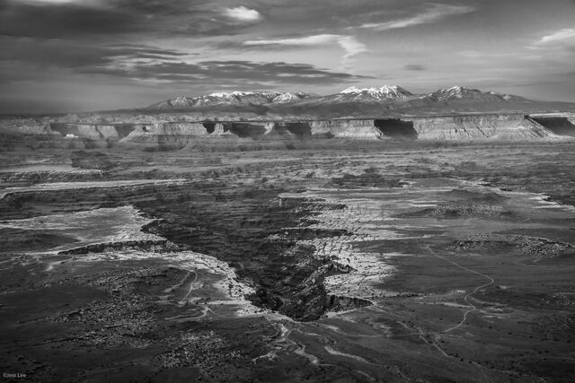 Canyon Lands overlook Black&White