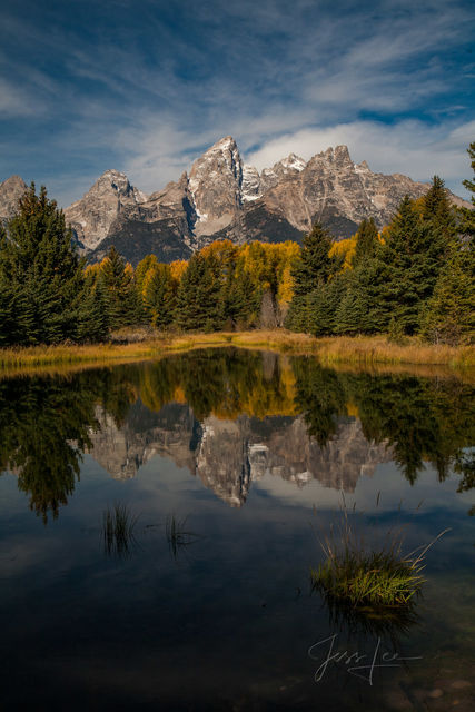 Photography of Grand Tetons in Wyoming, mountain reflection photography, beautiful landscapes, autumn colors, fall leaves, National Park photography, mountains, wilderness, nature, lake, fine art