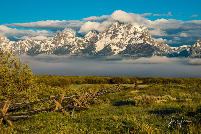 photo of Grand Tetons in Wyoming, National Park photography, landscape photos, mountain scene, cross buck fence, wildlife, snow, trees, summer, green pasture, ranch, museum quality, fine art, print, j