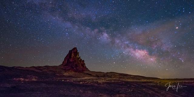 Night sky over Agatha Peak in Navajo Nation, Arizona.