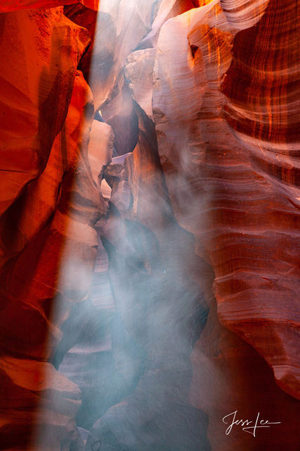 Cloud of dust seeping in to Slot Canyon.