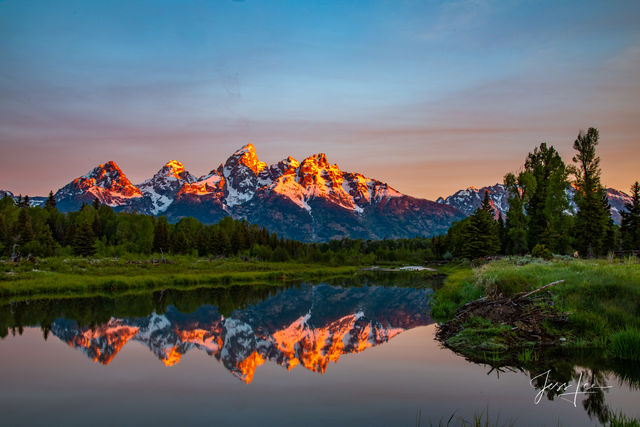 photo of Grand Tetons in Wyoming, National Park, wilderness, nature photography, landscape prints, reflection, water, lake, sunset, sunrise, bears, wolves, mountains, wildlife, snow, trees, cowboy, we