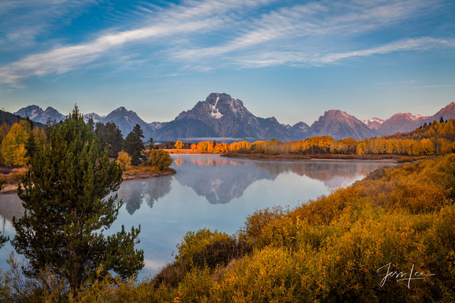 Picture of Autumn color with the Tetons at Oxbow Bend
