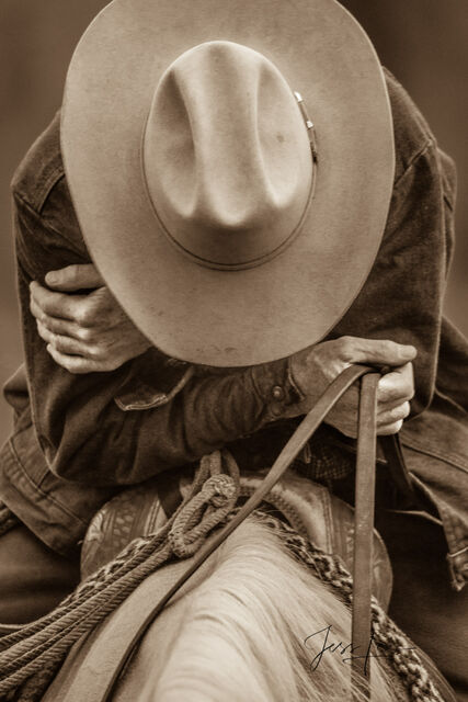 Prints picturing a tired Wyoming Cowboy resting on his saddle while still horseback, Wyoming, tired, horseback, resting,