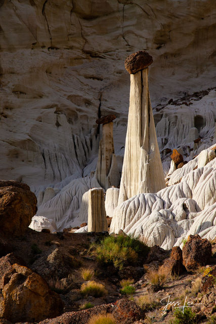 Canyon, Wild horse, creek, grand staircase, hoodoo, hoodoos, pillars.sandstone, red desert, wahweap, west, western, white, wyoming, Large format, quality, museum, fine art, print, jess lee, artist, co