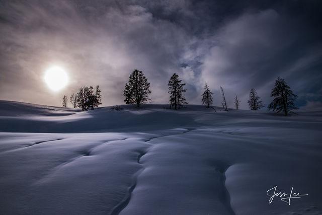 Winter Sun on a tree lined ridge
