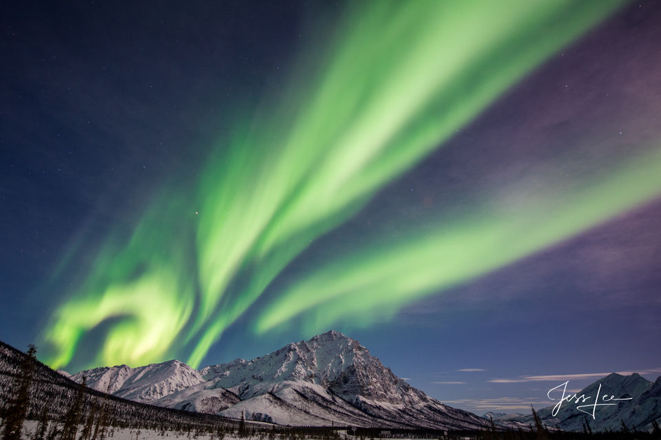 The Aurora Borealis in Alaska putting on a light show by light of the moon.