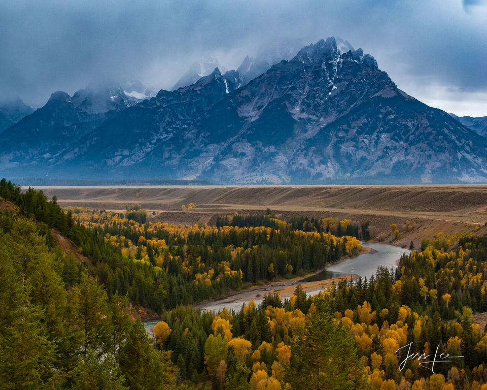 photo of Grand Tetons in Wyoming, mountain photography, autumn colors, fall, Snake River overlook, Jackson Hole, majestic, wilderness, nature, snow, trees, museum, fine art, print, jess lee, artist, p