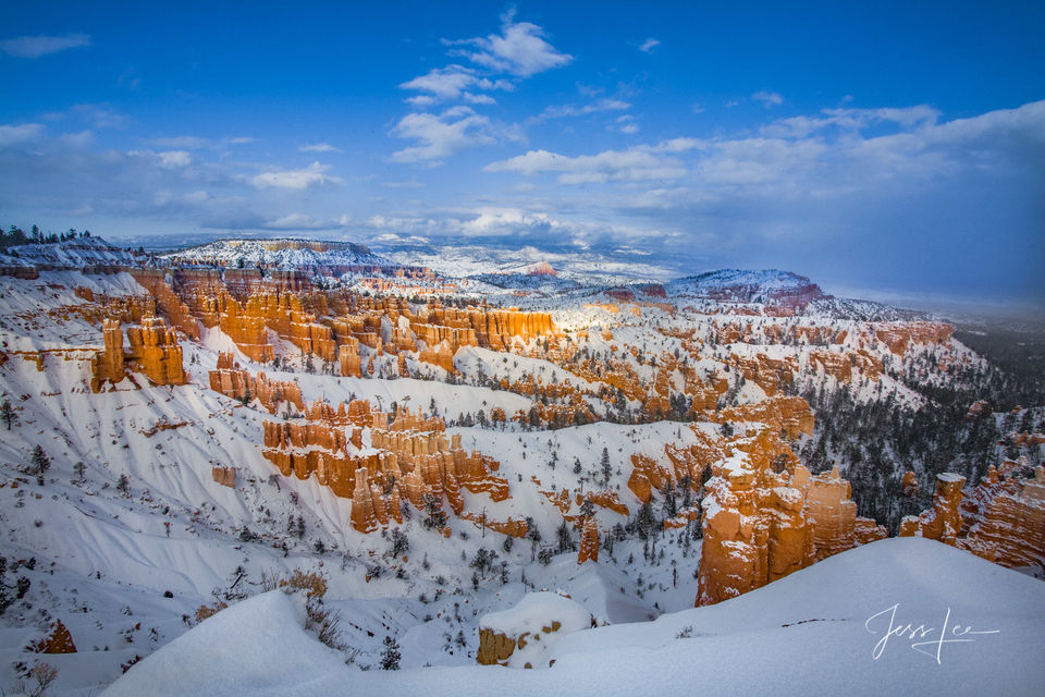 mountain photography, Bryce, Canyon, redrocks, snow, Utah, Large format, quality, museum, fine art, print, , jess lee, artist, western, cowboy, photographer, limited edition, high quality, high resolu