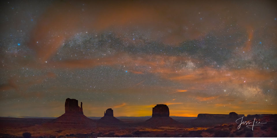 Milky Way over Monument Valley in Arizona.