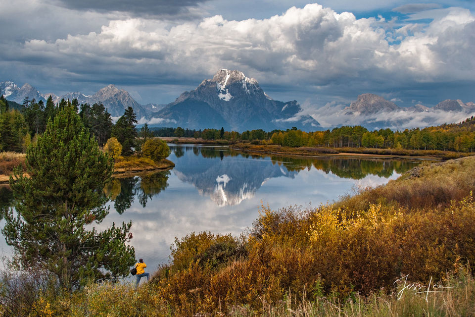 picture of oxbow bend Grand Tetons, mountains, Wyoming landscape photo, National Park, autumn, fall colors, wilderness photographer, snow, trees, cowboy, western, Large format, cowgirl, ranch, museum,