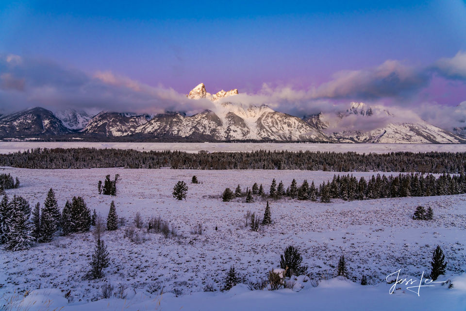 photo of Grand Tetons in winter, Wyoming, Jackson Hole, mountains, winter, snow-covered peaks, evergreens, nature, wilderness, wild, nature, large format, quality, museum, fine art, print, artist, jes