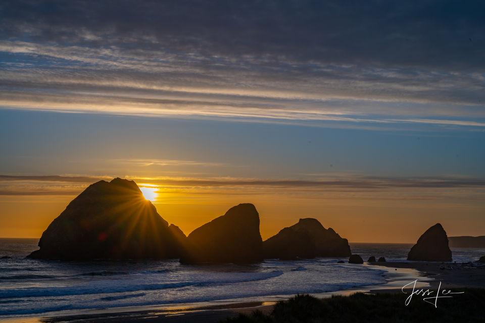 oregon, sunset, western, beach, ocean, waterfall, trees, water,