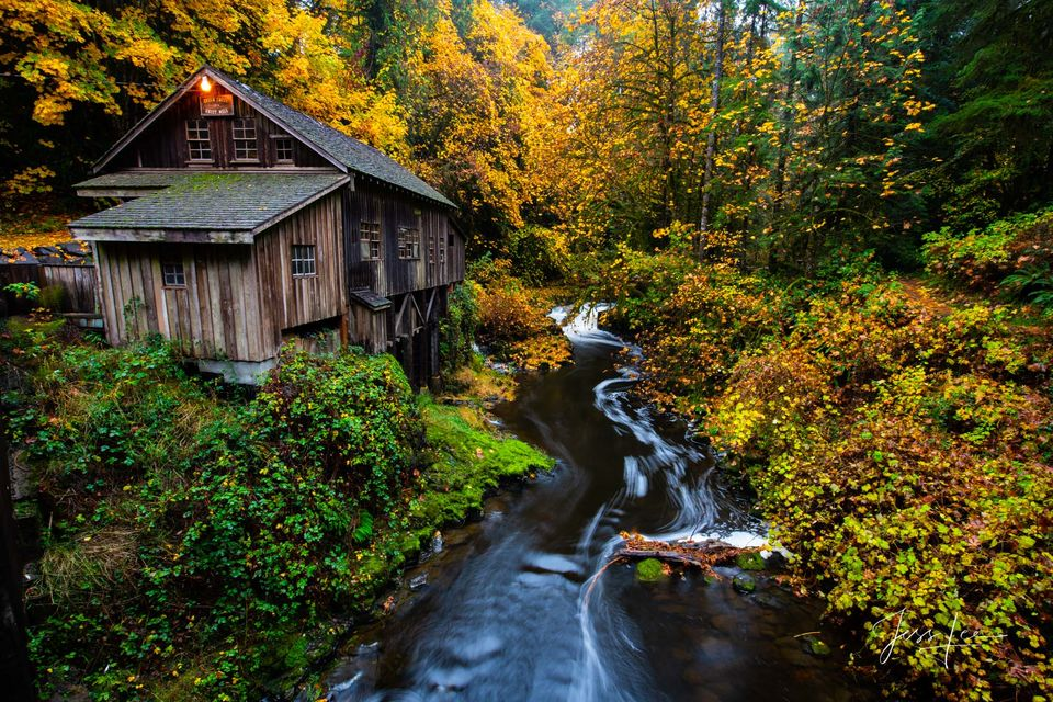 grist mill, mill, stream, waterwheel, Mountains, trees, snow, fall, color,
