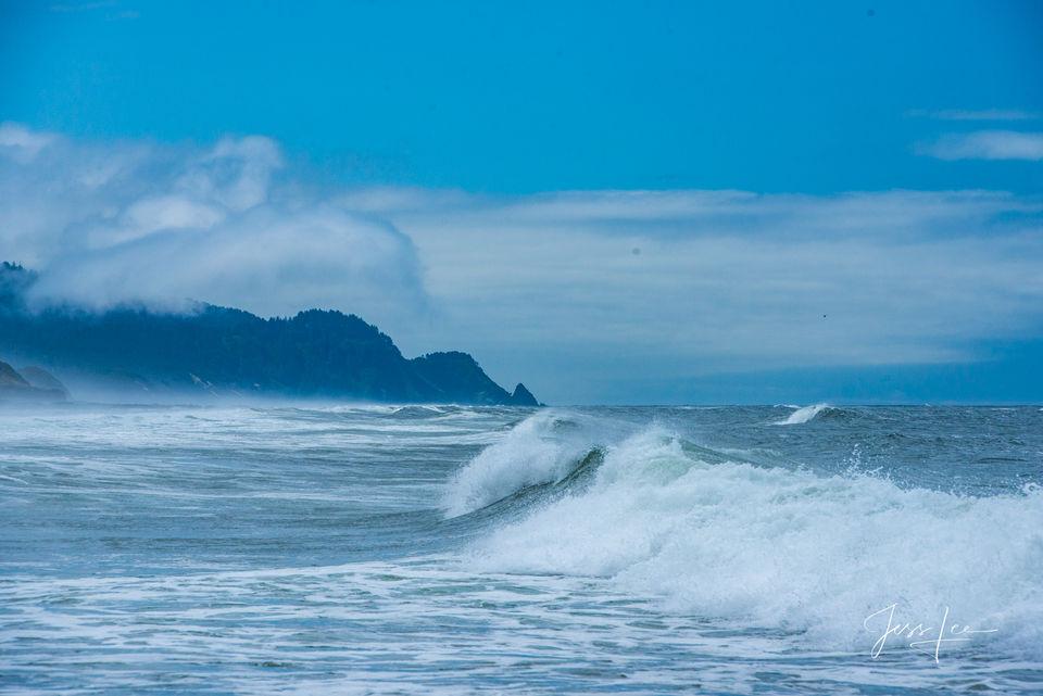 beach, ocean, waterfall, trees, water,