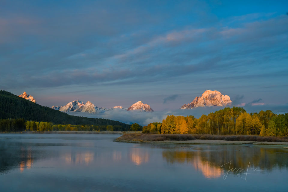 Snow Capped Tetons Reflecting on Oxbow Bend