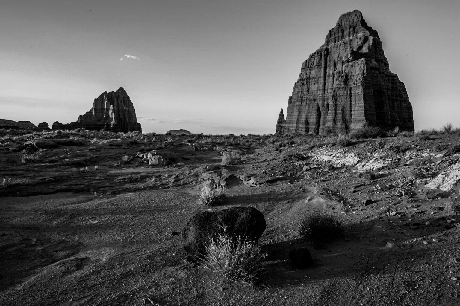 Limited Edition of 50 Fine Art Prints Sun and Moon Temple in Black and White : Capitol Reef, San Rafael Swell and the Waterpocket...