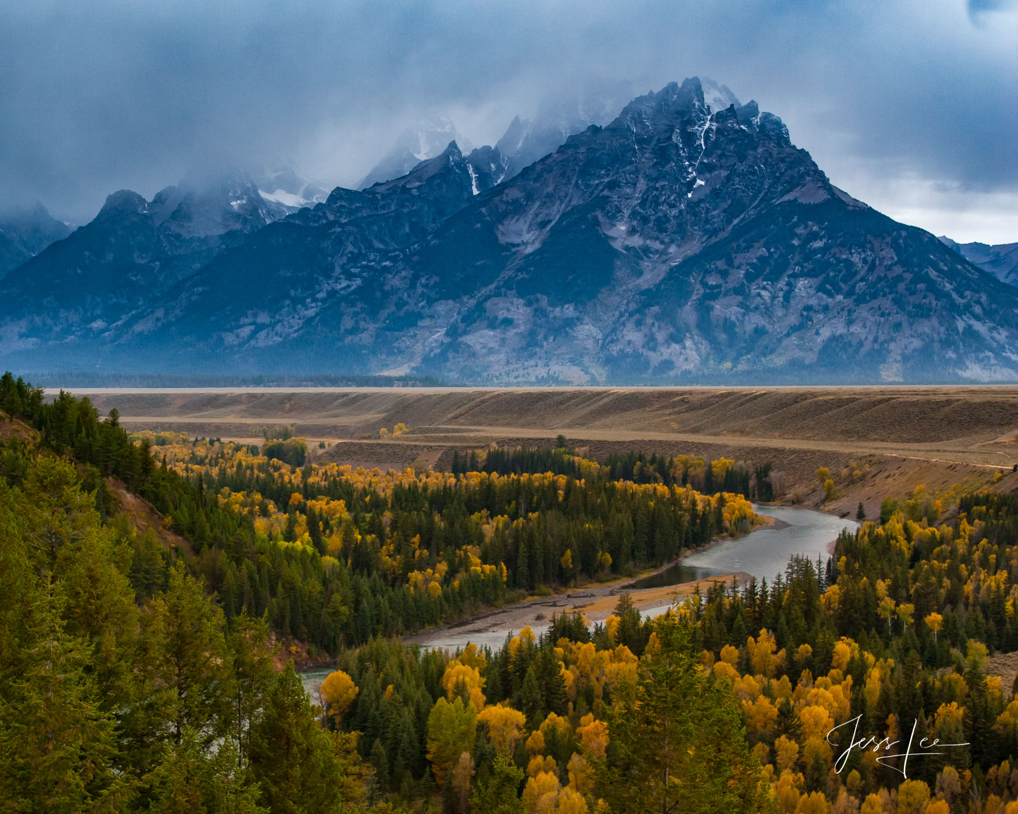 Limited Edition Print of 250 Photo of Grand Teton National Park from the Snake River Overlook during a autumn storm. A autumn...