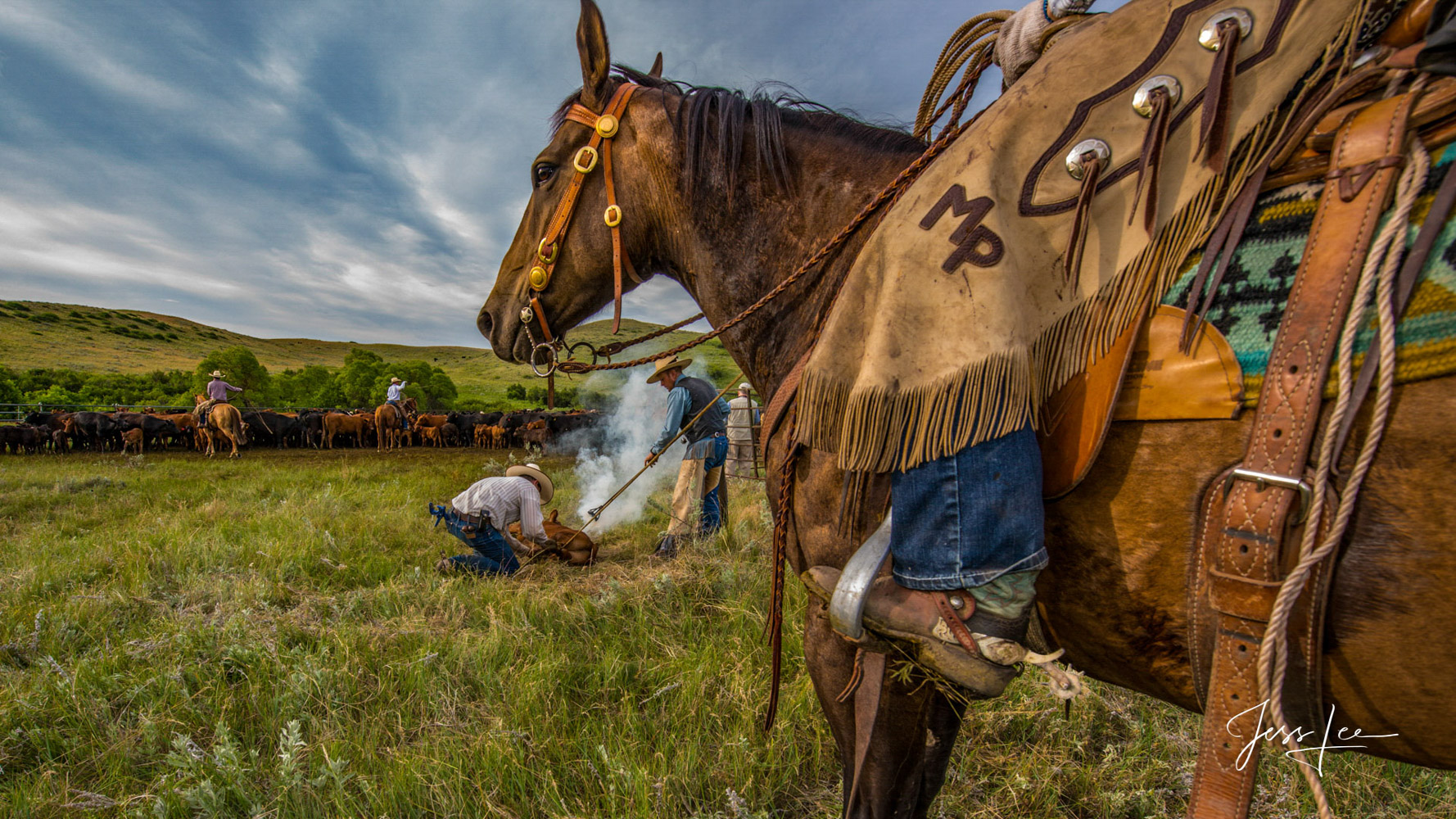 Branding Time Fine Art Limited Edition Cowboy Photography, Horses and life in the West. Cowboy photography at a branding is a...