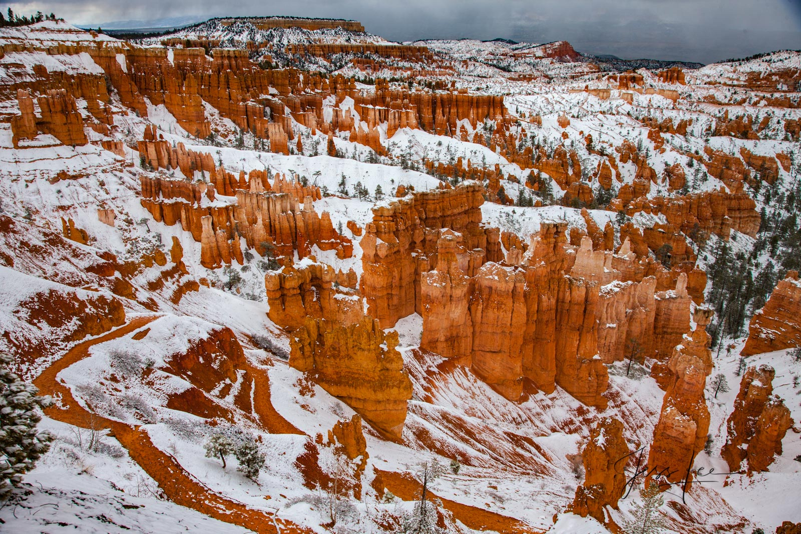 A trail winding through snow-covered Bryce Canyon National Park.