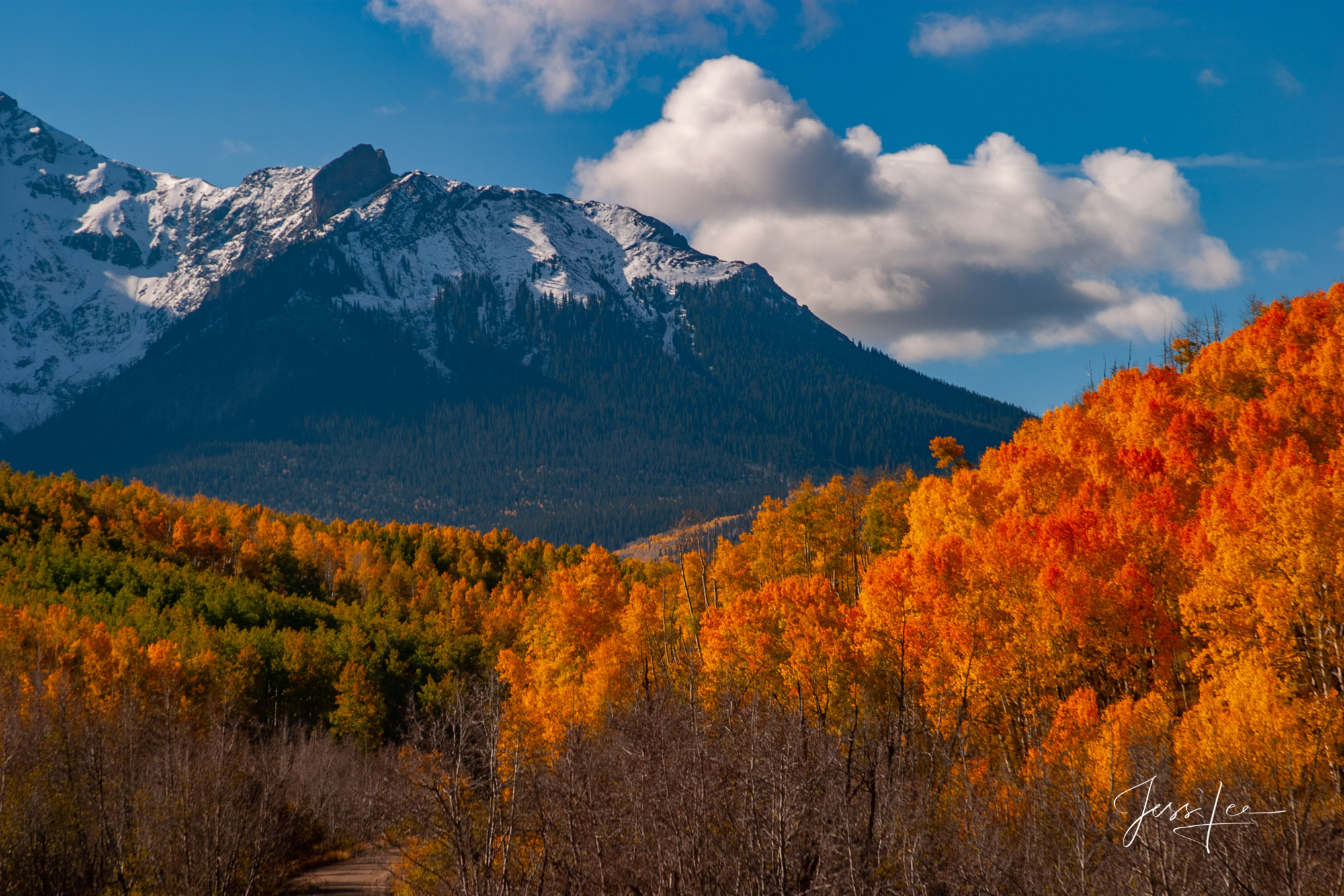 A Colorado Fall Color Print of La Pass at sunrise during the peak of Autumn Color in southeast Colorado. A limited Edition Fine...